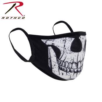 REUSABLE 3-LAYER POLYESTER FACE MASK - HALF SKULL