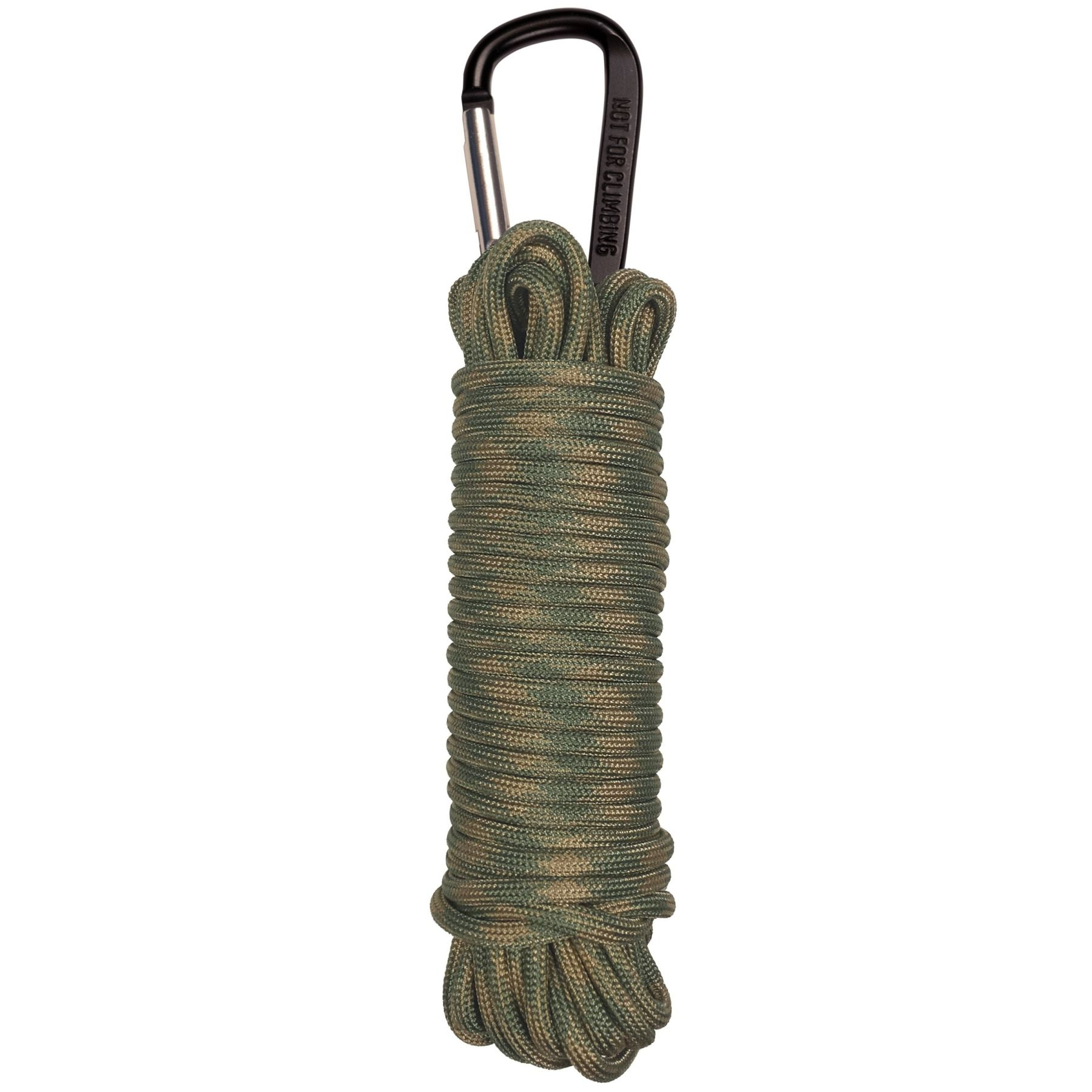 550 PARACORD - 30 FT WITH CARABINER - SAGE / TAN CAMO