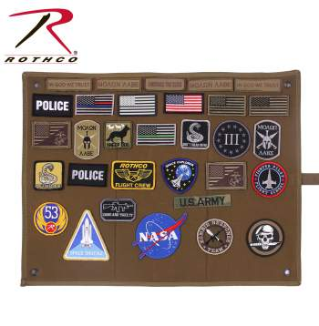 HANGING ROLL-UP MORALE PATCH BOARD - COYOTE BROWN