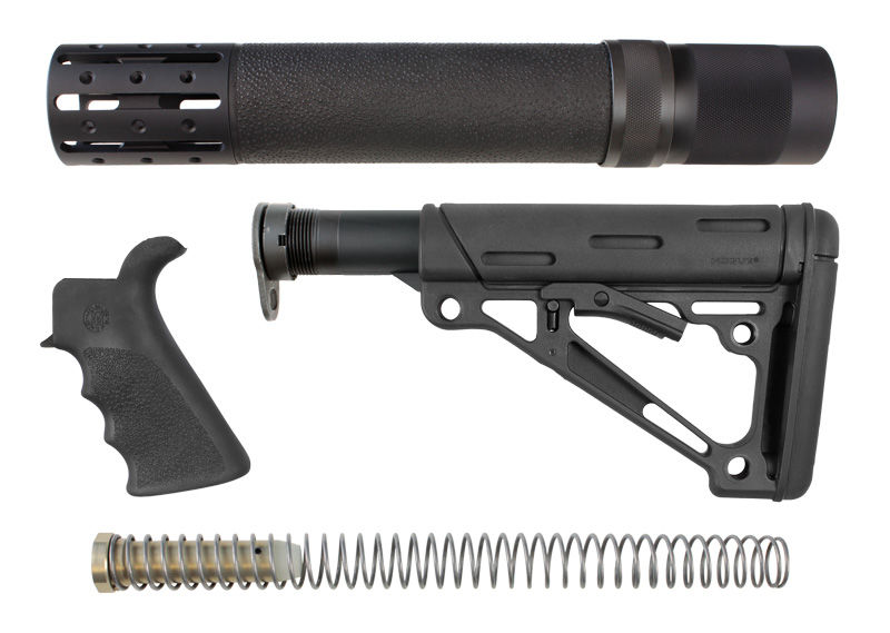RIFLE KIT - FOREND W/ ACCESSORIES, RUBBER GRIP, BUTTSTOCK W/ MIL-SPEC BUFFER TUBE & HARDWARE - BLACK