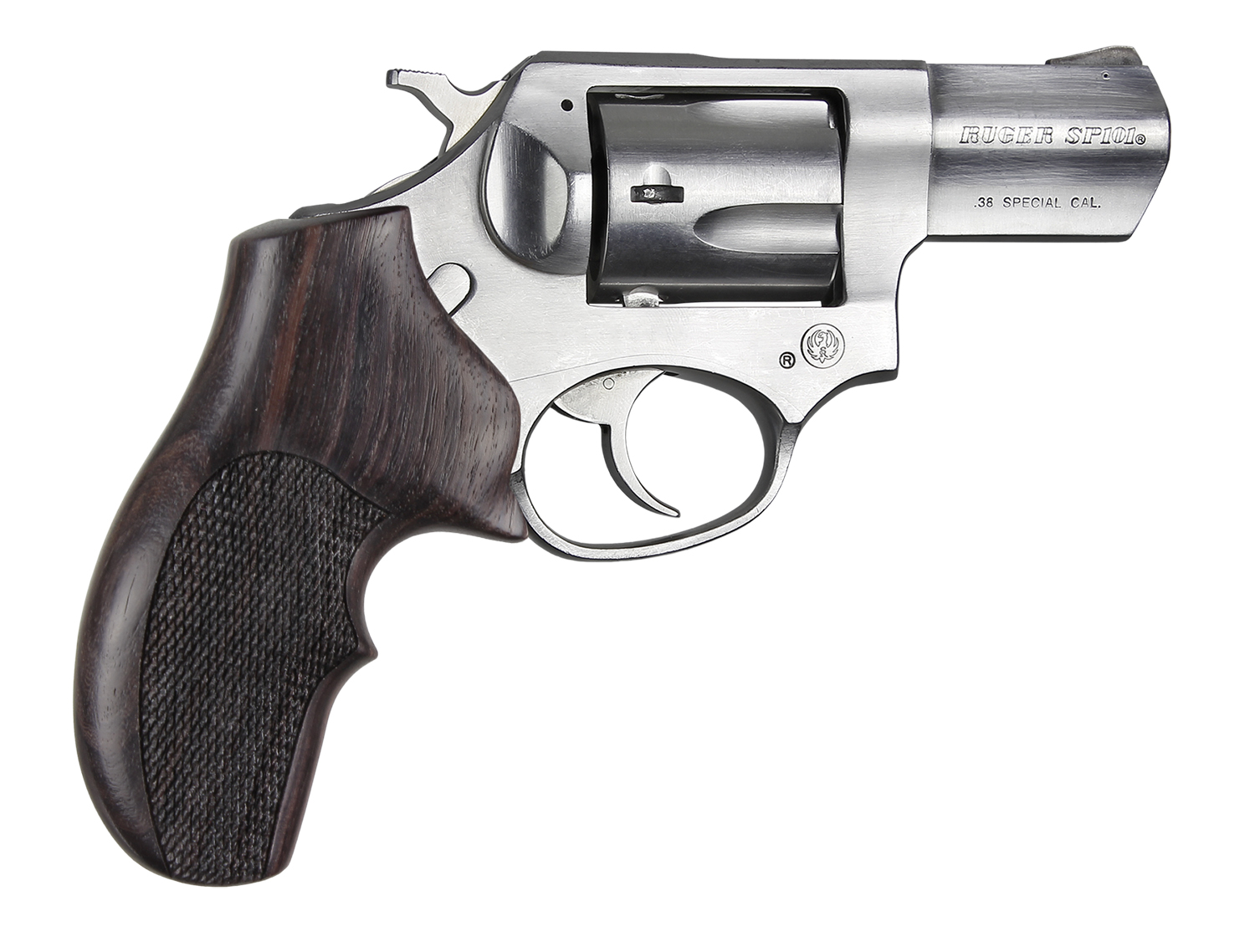ROSEWOOD TOP FINGER GROOVE CHECKERED REVOLVER GRIP - RUGER SP101