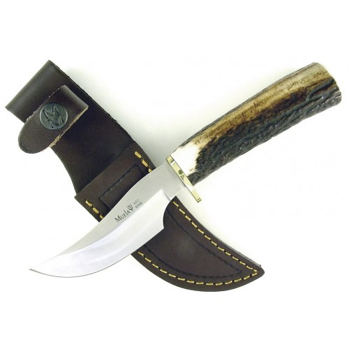MUELA RED STAG HANDLE SKINNING KNIFE W/ LEATHER SHEATH