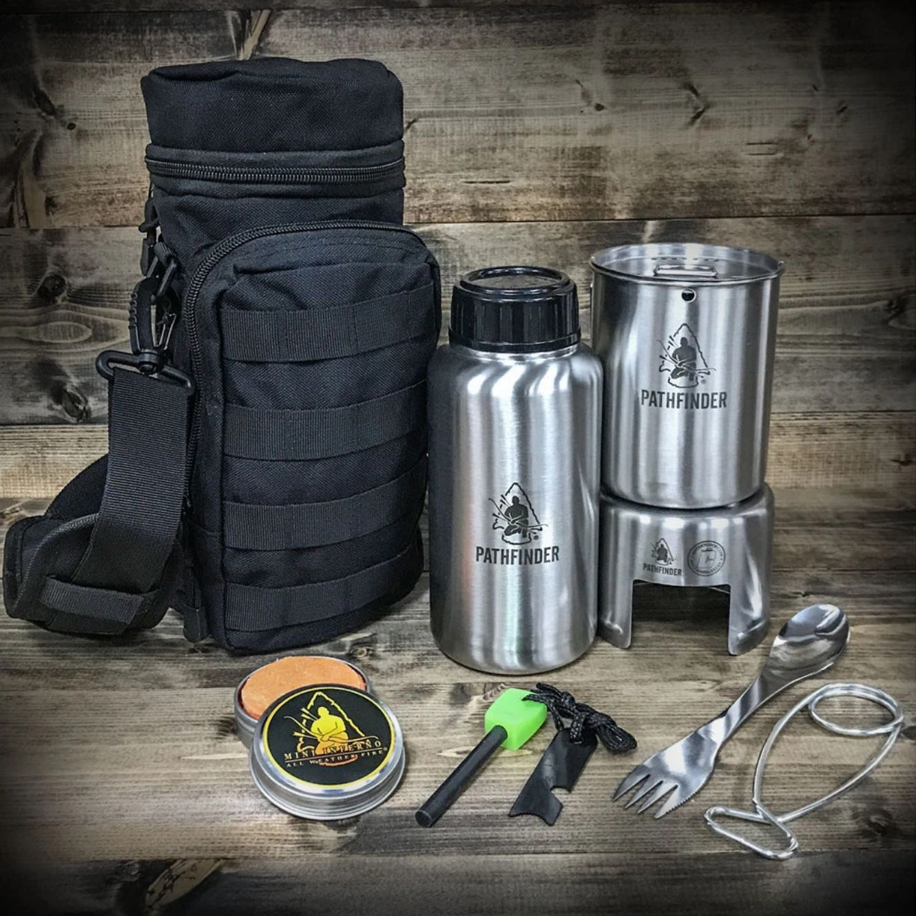 STAINLESS STEEL WATER BOTTLE COOKING KIT WITH BLACK MOLLE BAG - PATHFINDER