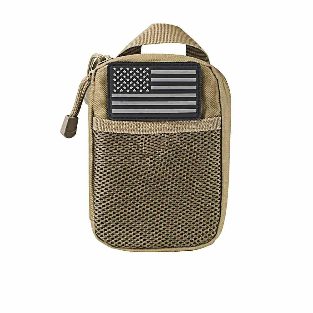 ADMIN POUCH WITH US FLAG PATCH - TAN