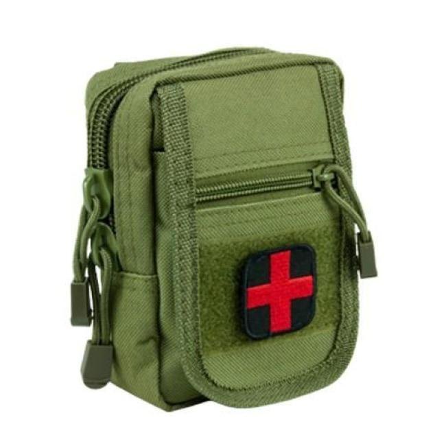 COMPACT TRAUMA KIT WITH TOURNIQUET & POUCH - GREEN