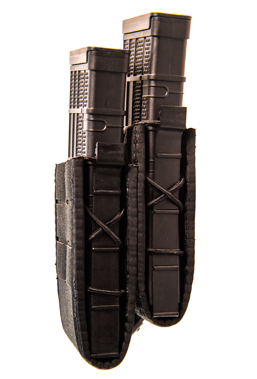 DUTY STAGGERED DOUBLE TACO MOLLE / BELT MOUNT - BLACK