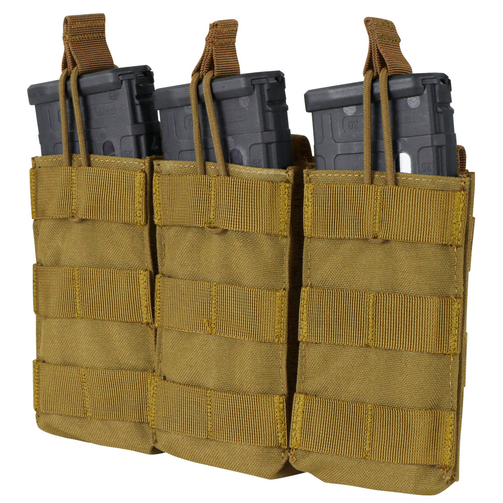 AR / M4 TRIPLE OPEN-TOP MAG POUCH - COYOTE BROWN