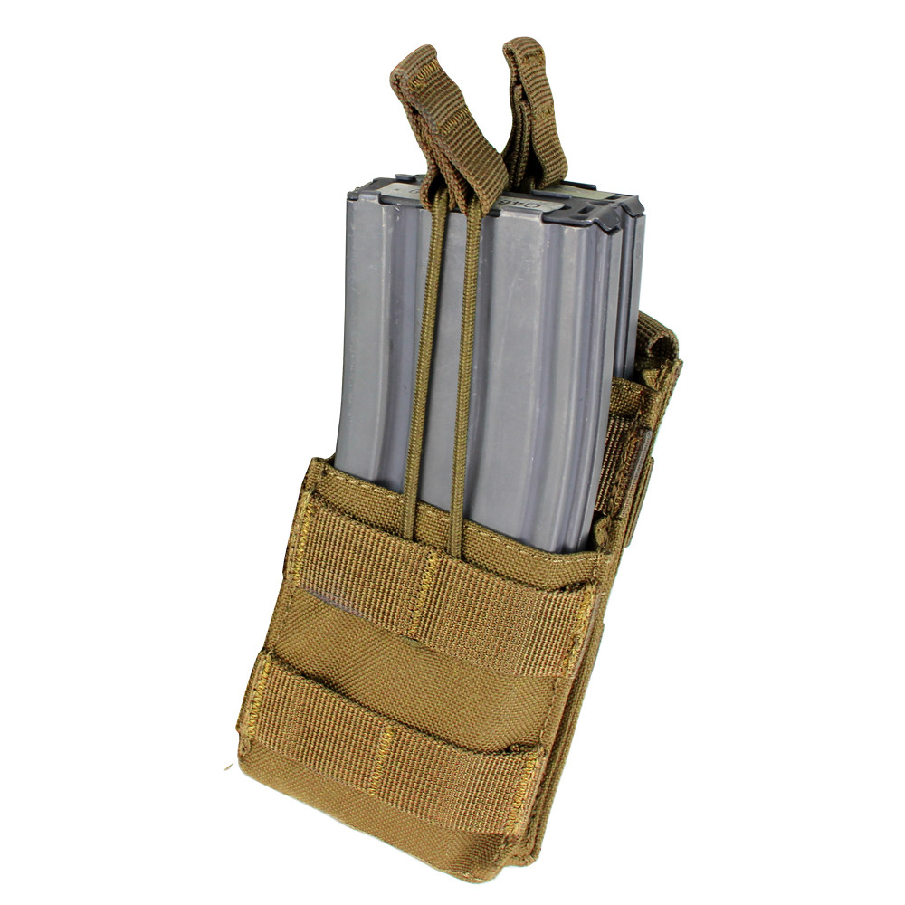 AR / M4 SINGLE OPEN-TOP STACKER MAG POUCH - COYOTE BROWN