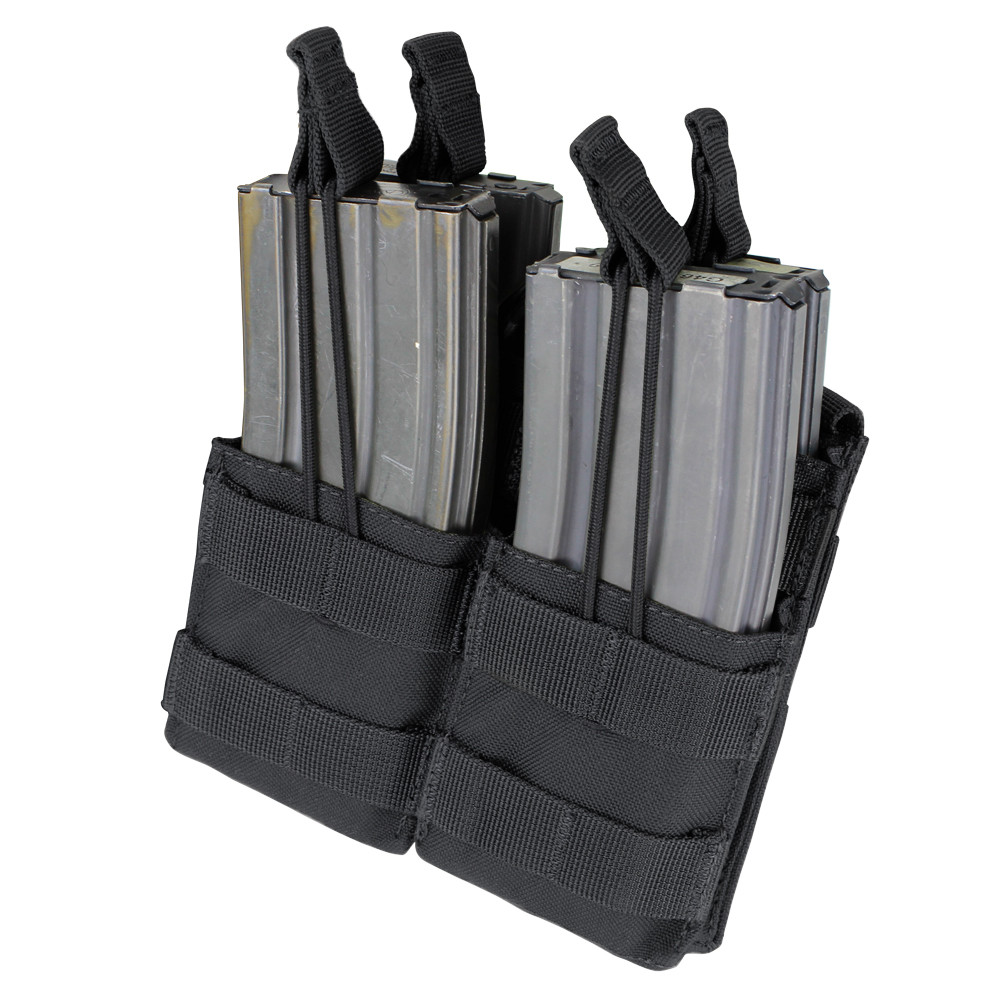AR / M4 DOUBLE OPEN-TOP STACKER MAG POUCH - BLACK