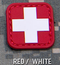 MEDIC SQUARE 2'' PVC PATCH - RED / WHITE