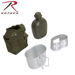 4 PIECE CANTEEN KIT W/ COVER, ALUMINUM CUP & STOVE / STAND - GREEN
