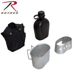 4 PIECE CANTEEN KIT W/ COVER, ALUMINUM CUP & STOVE / STAND - BLACK
