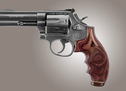 ROSEWOOD LAMINATE CHECKERED STRIPE CAP REVOLVER GRIP - S&W K OR L ROUND BUTT