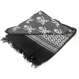 SHEMAGH 100% COTTON - BLACK / WHITE - PIRATE
