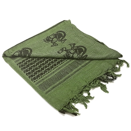 SHEMAGH 100% COTTON - OLIVE DRAB / BLACK - SKULLS
