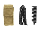 GERBER CENTER-DRIVE MULTI-TOOL - BLACK - WITH BIT SET AND COYOTE BROWN MOLLE POUCH