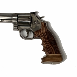 KINGWOOD CHECKERED BIG BUTT REVOLVER GRIP - S&W K OR L ROUND TO SQUARE BUTT CONVERSION GRIP