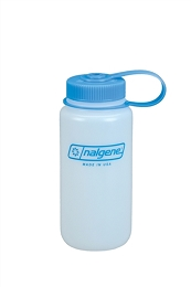 NALGENE 500ML / 16 OZ. WIDE MOUTH BPA FREE WATER BOTTLE - WHITE, BLUE LID