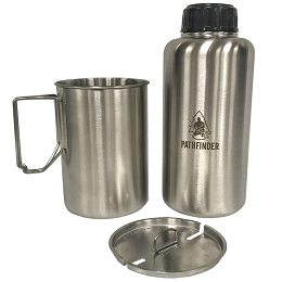 STAINLESS STEEL 64 OZ (1.9 LITRES) WIDEMOUTH WATER BOTTLE & 48 OZ (1.42 LITRES) CUP AND LID SET - PATHFINDER