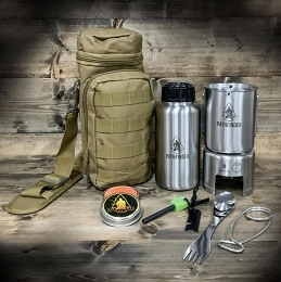 STAINLESS STEEL WATER BOTTLE COOKING KIT, COYOTE TAN - PATHFINDER
