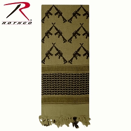 SHEMAGH / KEFFIYEH SCARF - CROSSED RIFLES - OLIVE DRAB