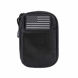 ADMIN POUCH WITH US FLAG PATCH - BLACK