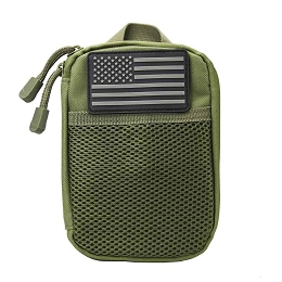 ADMIN POUCH WITH US FLAG PATCH - GREEN