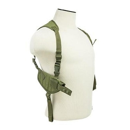AMBIDEXTROUS HORIZONTAL SHOULDER HOLSTER / DOUBLE MAGAZINE HOLDER - GREEN