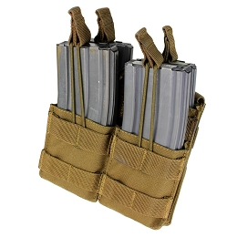 AR / M4 DOUBLE OPEN-TOP STACKER MAG POUCH - COYOTE BROWN