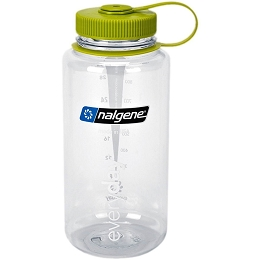 NALGENE 1 LITRE / 32 OZ. WIDE MOUTH BPA FREE WATER BOTTLE - CLEAR, GREEN LID