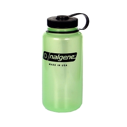 NALGENE 1 LITRE / 32 OZ. WIDE MOUTH BPA FREE WATER BOTTLE - GLOW IN THE DARK GREEN