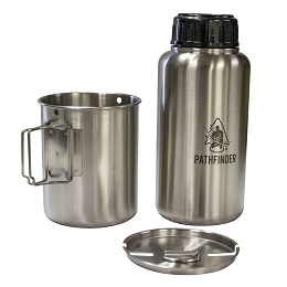 STAINLESS STEEL 32 OZ (1 LITRE) WATER BOTTLE, CUP AND LID SET - GEN 3 - PATHFINDER