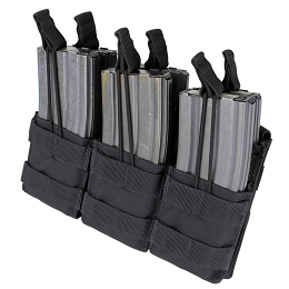 AR / M4 TRIPLE OPEN-TOP STACKER MAG POUCH - BLACK