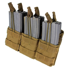 AR / M4 TRIPLE OPEN-TOP STACKER MAG POUCH - COYOTE BROWN