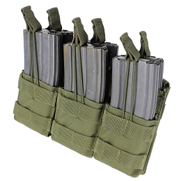 AR / M4 TRIPLE OPEN-TOP STACKER MAG POUCH - OLIVE DRAB